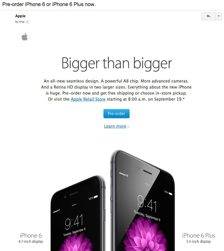 Email de lanzamiento de Apple Iphone 6 y 6 Plus
