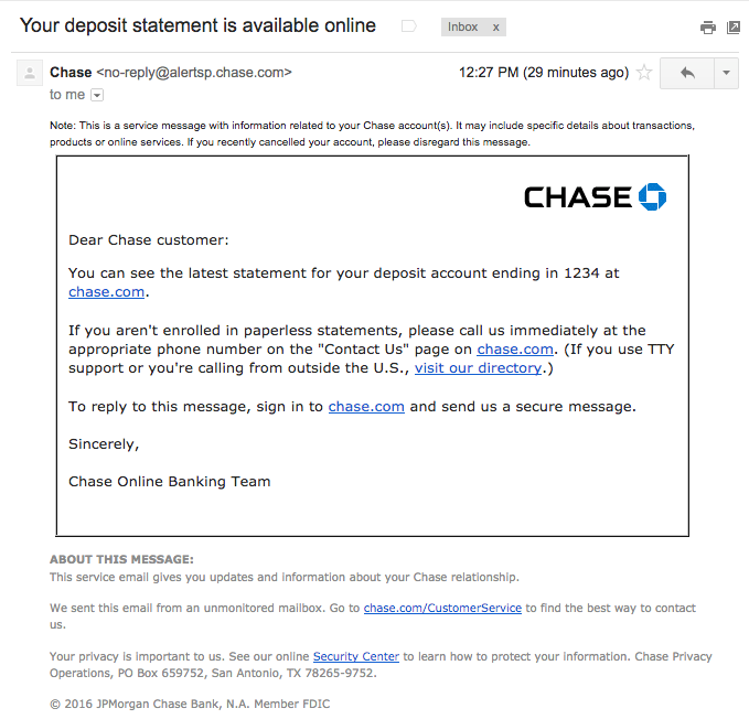 Chase Statement example